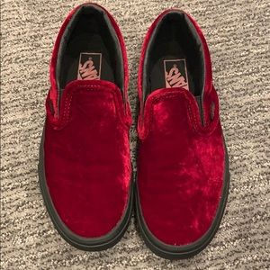 Velvet red slip on vans
